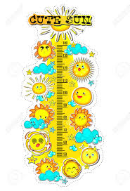Kids Height Chart With Collection Of Cute Sun Summer Time Cartoon