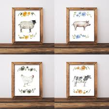 Shabby Chic Wall Decor Farmhouse Wall Art Nursery Wall Art Shabby Chic Wall Art Animal