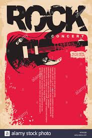 Concert Poster Design Rock Concert Poster Template With Electric Guitar On Grungy