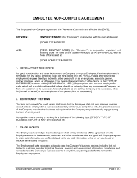 Nda Non Compete Template Employee Non Compete Agreement Template Sample Form