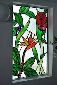 stained glass bird bath of paradise scene solar patterns