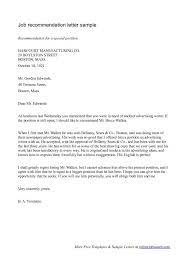 Free Sample Recommendation Letter For Job Template Free Letter