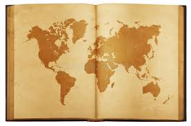 vine map of the world on old book isolated on white background stock image
