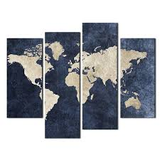 4 panel map painting wall art blue map flag painting a world map with mazarine background picture print on canvas for home modern decoration map paintings