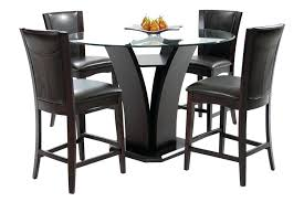 counter height glass table daisy round glass top counter height table and 4 dark brown counter
