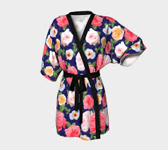 Kimono Robe Pattern Interesting Beautiful Painterly English Rose Pattern Kimono Robe By Ilze Lucero