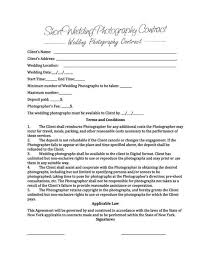 Photography Contracts 6 Free Wedding Photography Contract Templates