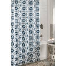 shop allen  roth polyester blue patterned shower curtain at lowescom