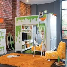 red brick wall color interior design in small modern kids room with white wood bunk beds accessories furniture funny