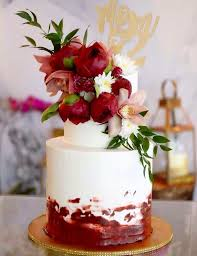 Buttercream 2 Tiered Cake With Red Flower Combinations Cupcakes By