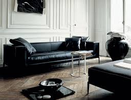 Living Room Design: Long Black Leather Sofa 10 - Living Room Furniture