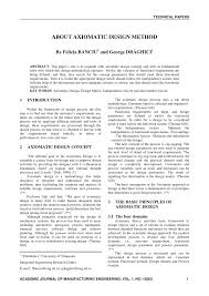 Design Axioms Pdf About Axiomatic Design Method