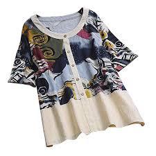 Twgone Linen Shirts For Women Plus Size Vintage Scoop Neck