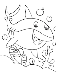 Small Picture Happy cute shark coloring page Download Free Happy cute shark