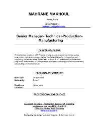 Doc Mahrane Makhoul Senior Manager Technical Production