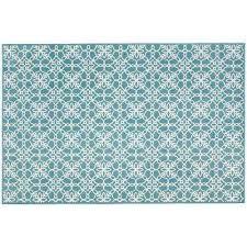 washable fl tiles aqua blue 3 ft x 5 ft stain resistant accent rug