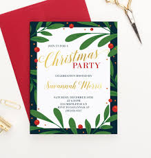 Christmas Holly Invitation Party Holiday Party Invite Holly Gold Christmas Invitations Holly