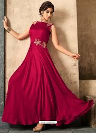 Designer Gowns For Indian Wedding Wine Satin Khatli Worked Party Wear Gown Gown Party Wear