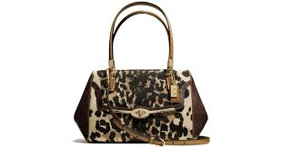 ... Coach Madison Small Madeline Eastwest Satchel in Ocelot Print Fabric  Lyst ...