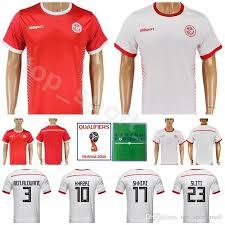 Maaloul Soccer Red Fakhreddine 13 Youssef Sassi Kits Cup Tunisia Ben 12 8 2 Jersey Shirt Syam Men White Football 11 World 2018 Home Khalifa