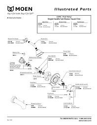 amazing moen single handle shower faucet l82383 parts list and diagram com