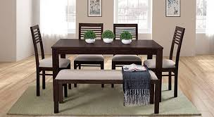 dining room table with upholstered bench. Arabia - Zella 6 Seater Dining Table Set (With Upholstered Bench) (Mahogany Finish Room With Bench N