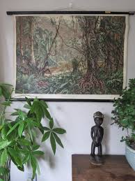Wall Chart Jungle Vintage Pull Roll Down School Wall Chart Poster Of A Tropical Rain Forest Jungle