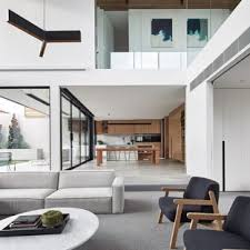 minimalist open concept carpeted and gray floor family room photo in melbourne with white walls modern design ideas s48 modern