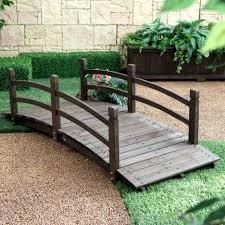 wooden garden bridge wood garden bridge 6 ft brown wooden decorative outdoor backyard pond walkway wooden
