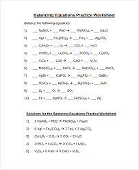 balancing equations practice worksheet answers sample balancing equations worksheet templates 9 free doents free