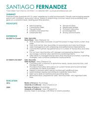 Sales Associate Resume Unforgettable Part Time Sales Associates Resume Examples To