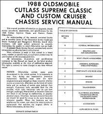 olds cutlass supreme classic and custom cruiser repair shop this manual covers 1988 oldsmobile cutlass supreme classic cutlass supreme classic brougham custom cruiser this book measures 8 5 x 11 and is 1 75