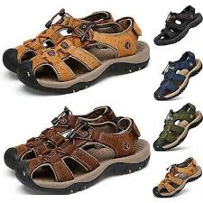 <b>Men's Summer</b> Hiking Leather <b>Sandals</b> Casual Breathable Closed ...