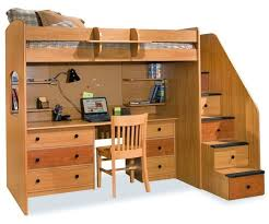 this light natural wood loft bed features a full set of stairs with drawers built in