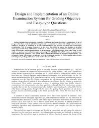 design and implementation of an online examination system for  design and implementation of an online examination system for grading objective and essay type questions pdf available