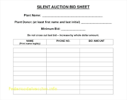 Printable Silent Auction Bid Sheet Free Cards Template Meaning In