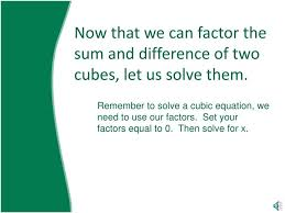 How To Factor A Cubic Ppt Solving A Cubic Function By Factoring Using The Sum Or
