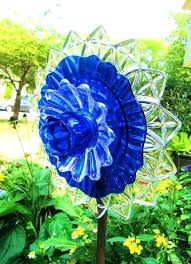 glass yard art plates flowers plate flower garden by how to make blown m glass yard art