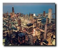 wall decor chicago skyline nightscape city william wilson art print poster 16x20
