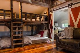 Built In Bunk Beds Kids Rustic Room With Bunk Beds And Barn Door Fresh Face Space
