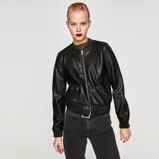 zara faux leather er jacket women s fashion clothes outerwear on carou