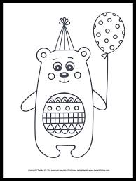 All birthday and birthday cake coloring pages are printable. Cute Bear With Balloon Happy Birthday Coloring Page The Art Kit