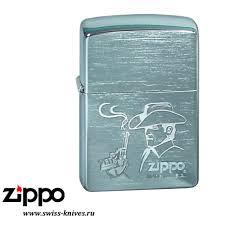 <b>Зажигалка</b> широкая Zippo Classic <b>Cowboy</b> Brushed Chrome 200 ...