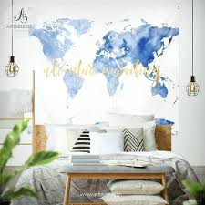 world map print tapestry wall hanging art decoration sky blue adventure watercolor bohemi