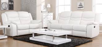 Small Picture Contour Blossom White Reclining 3 2 Seater Leather Sofa Set
