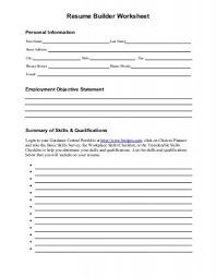 Resume Builder Worksheet Minot Public Schools