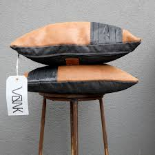 brown leather pillow covers handmade by vank design