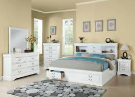 Details about Traditional White Wood Bedroom Furniture - 5pcs King Size Storage Bed Set IAB6