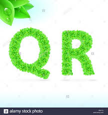 Sans serif font with green leaf decoration on white background. Q and R  letters