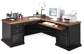delightful decorating ideas using round white desk lamps and l shaped black wooden desks